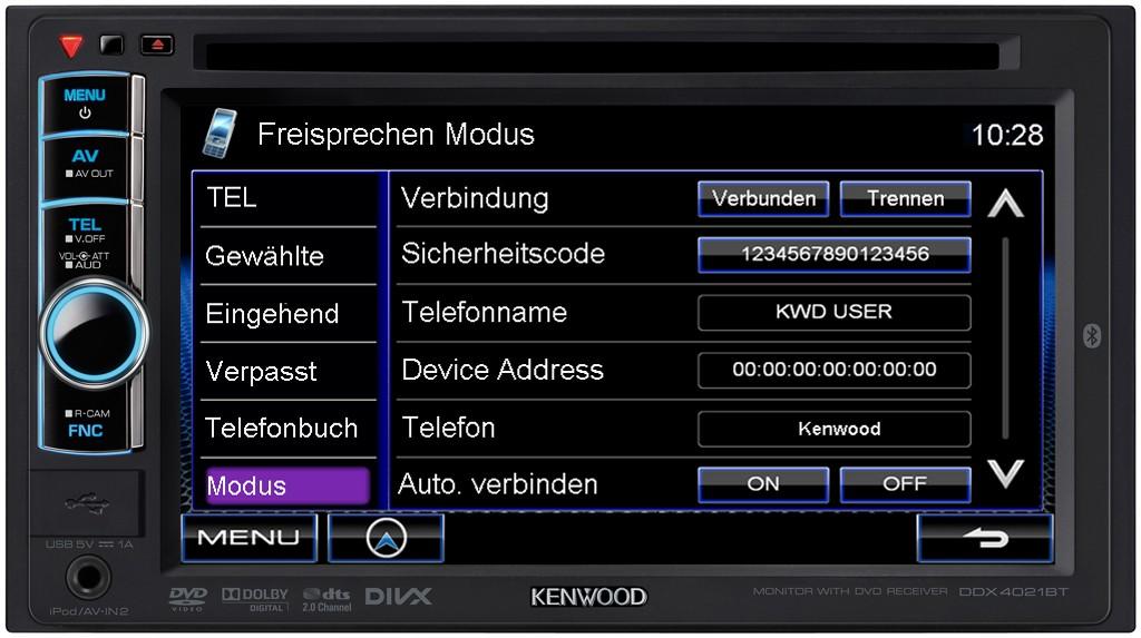 itm Kenwood DDXBT DIN Multimedia Autoradio DVD TFT USB MP RADIO BLUETOOTH NEU