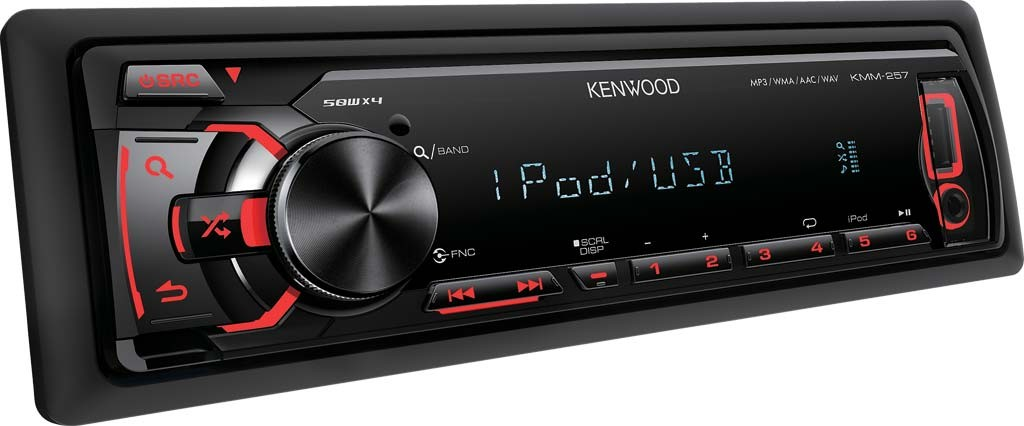 Kenwood-KMM-257-MP3-USB-Autoradio-iphone-ipod-Android-Steuerung-rot-4x50W-NEU
