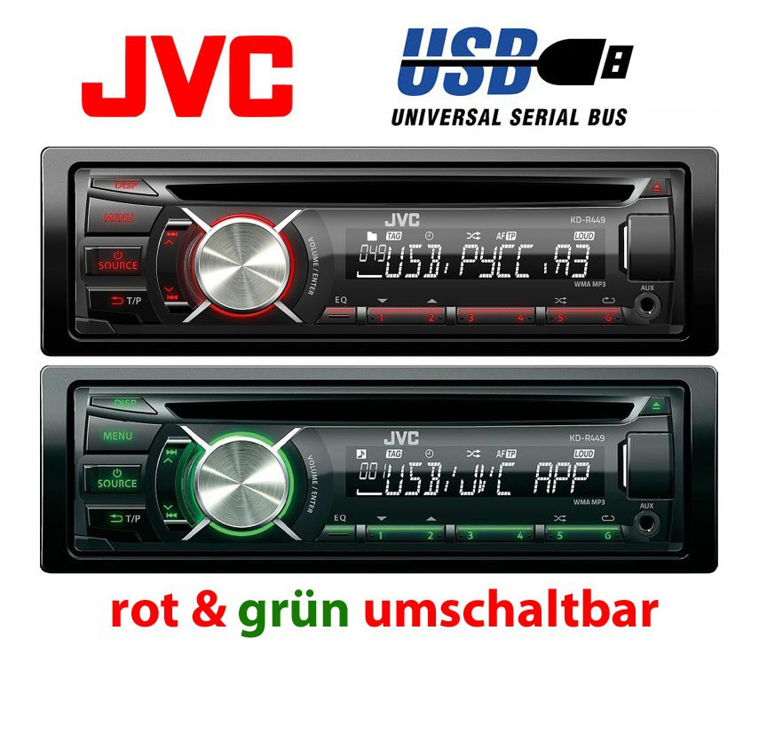 jvc kd r449 cd mp3 usb autoradio aux in smartphone. Black Bedroom Furniture Sets. Home Design Ideas