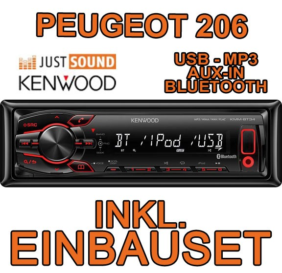 peugeot 206 kenwood usb bluetooth autoradio einbauset adapter blende smartphone ebay. Black Bedroom Furniture Sets. Home Design Ideas