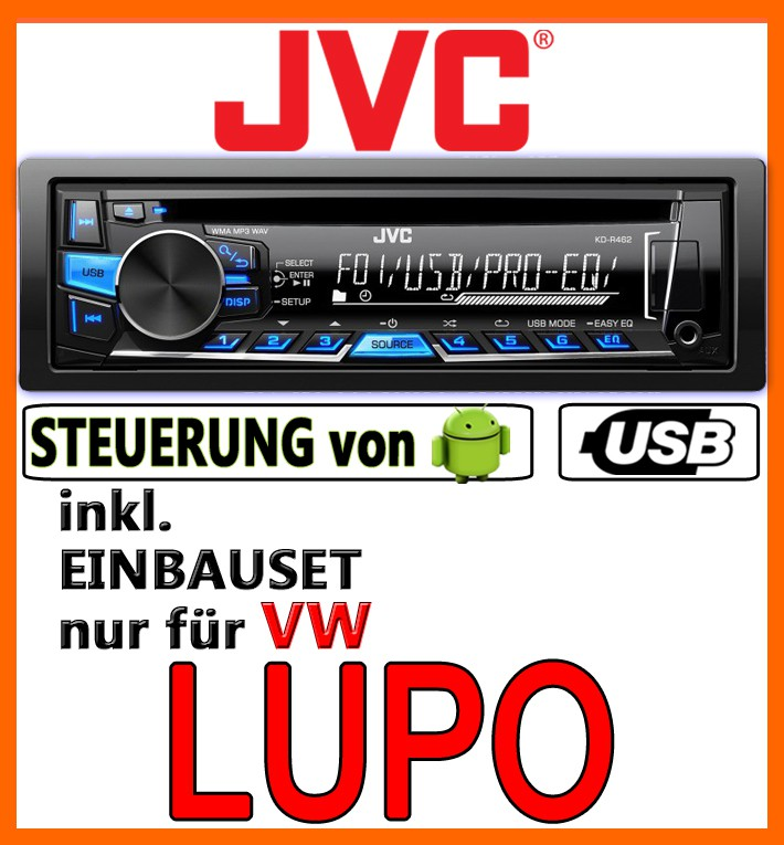 vw lupo jvc usb autoradio einbauset mp3 cd radio. Black Bedroom Furniture Sets. Home Design Ideas