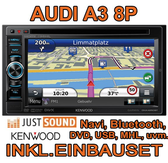 audi a3 8p kenwood bluetooth navigation autoradio mhl usb dvd touch tft radio ebay. Black Bedroom Furniture Sets. Home Design Ideas
