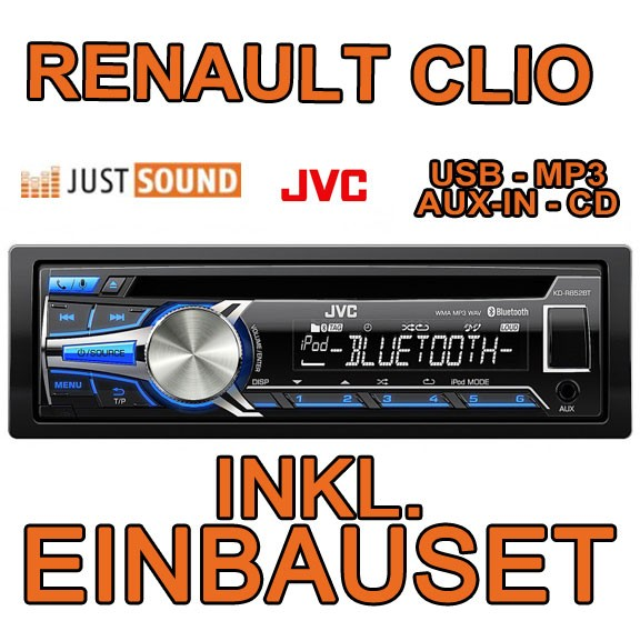 renault clio 1 2 jvc bluetooth usb autoradio einbauset zubeh r blende adapter. Black Bedroom Furniture Sets. Home Design Ideas