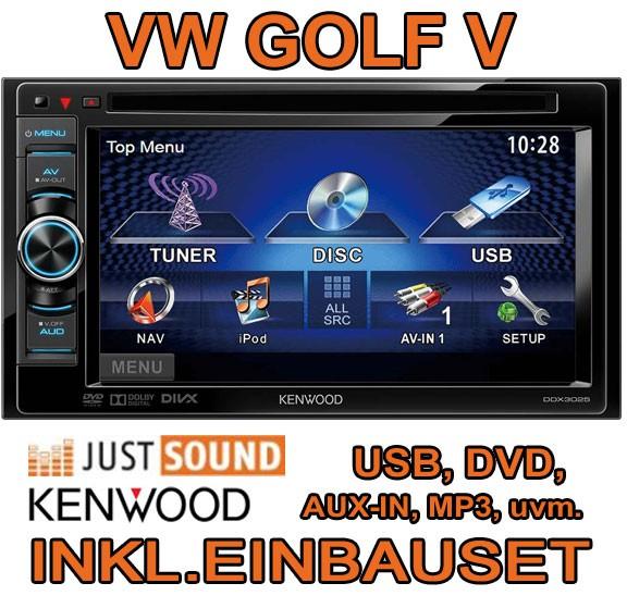 vw golf 5 v kenwood ddx3025 2din multimedia autoradio kit de montage usb cd mp3 ebay. Black Bedroom Furniture Sets. Home Design Ideas