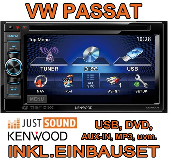 vw passat 3c b7 cc kenwood 2din multimedia autoradio kit. Black Bedroom Furniture Sets. Home Design Ideas