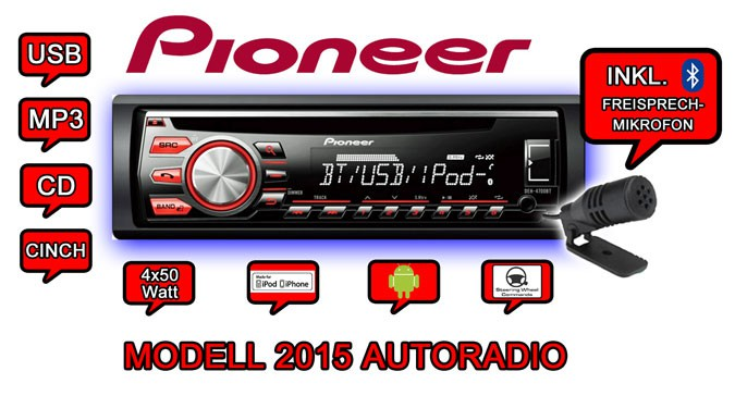 pioneer deh 4700bt cd mp3 usb bluetooth autoradio smartphone aux en radio 2015 ebay. Black Bedroom Furniture Sets. Home Design Ideas