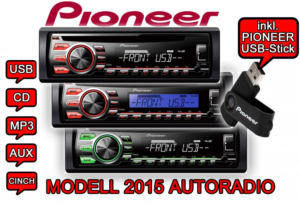pioneer autoradio 2015 mod le rds cd mp3 usb aux in android incl cl usb ebay. Black Bedroom Furniture Sets. Home Design Ideas
