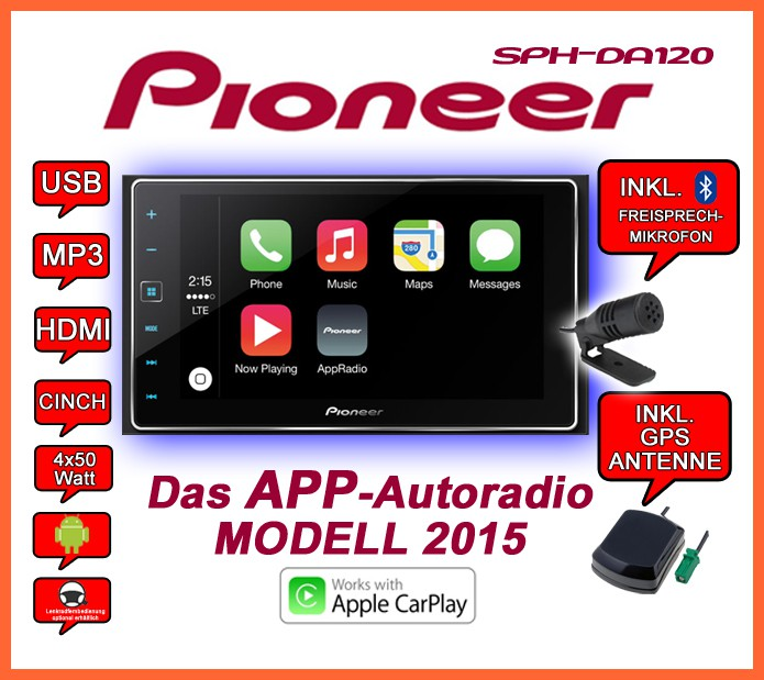 pioneer sph da120 2din usb bluetooth apple carplay. Black Bedroom Furniture Sets. Home Design Ideas