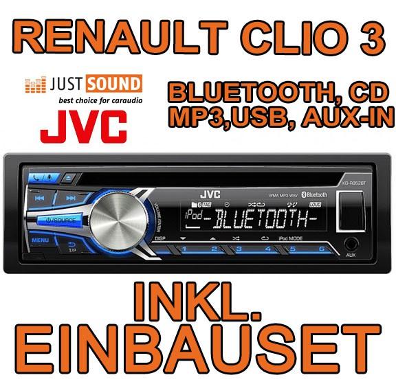 renault clio 3 jvc cd mp3 usb bluetooth autoradio einbauset radio auto aux. Black Bedroom Furniture Sets. Home Design Ideas