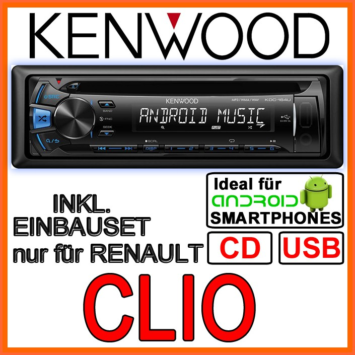 renault clio 3 kenwood cd mp3 usb autoradio einbauset einbauzubeh r aux in ebay. Black Bedroom Furniture Sets. Home Design Ideas
