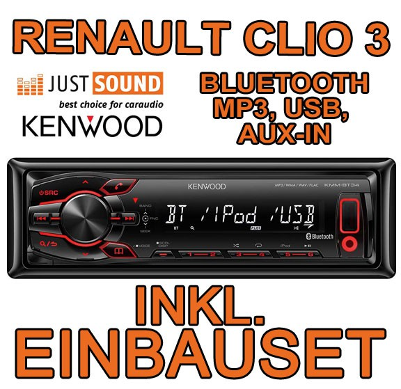 renault clio 3 kenwood mp3 usb bluetooth autoradio einbauset radio pkw auto ebay. Black Bedroom Furniture Sets. Home Design Ideas