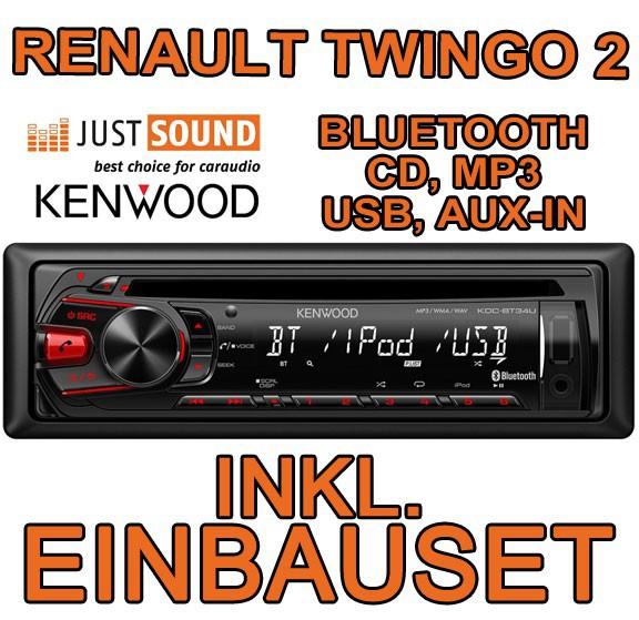 renault twingo 2 kenwood bluetooth cd mp3 usb autoradio smartphone einbauset ebay. Black Bedroom Furniture Sets. Home Design Ideas
