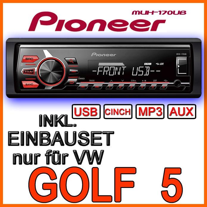 vw golf 5 plus variant jetta 5 pioneer mp3 usb autoradio einbauset radio ebay. Black Bedroom Furniture Sets. Home Design Ideas