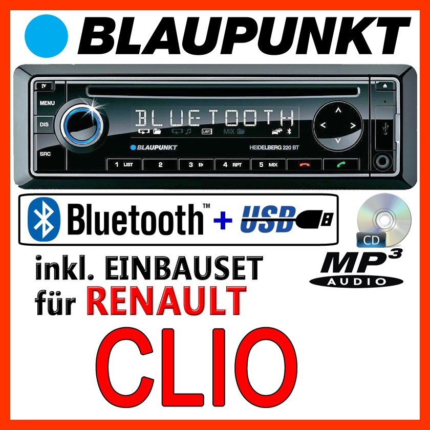 blaupunkt renault clio 3 bluetooth autoradio mit cd mp3 usb radio einbauset ebay. Black Bedroom Furniture Sets. Home Design Ideas