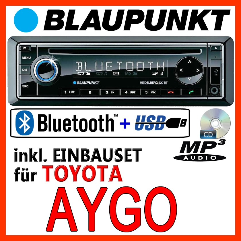 blaupunkt toyota aygo bluetooth autoradio mit cd mp3. Black Bedroom Furniture Sets. Home Design Ideas