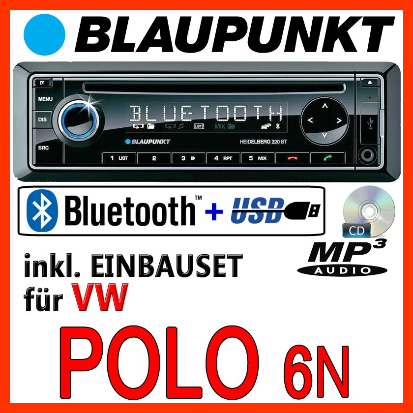 blaupunkt vw polo 6n 6n2 bluetooth autoradio mit cd. Black Bedroom Furniture Sets. Home Design Ideas