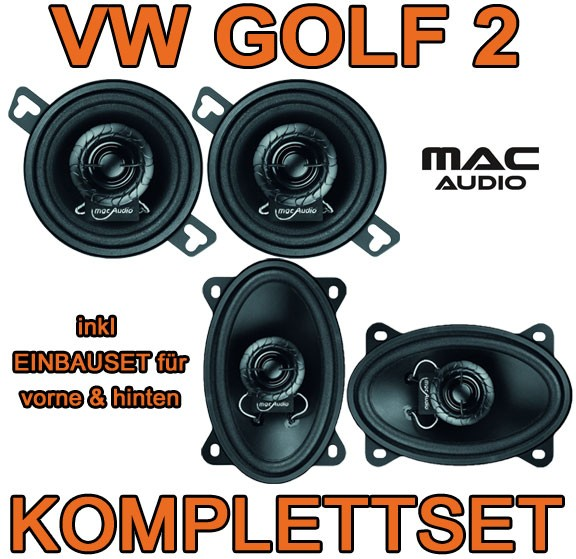 vw golf 2 ii macaudio lautsprecher front heck einbauset. Black Bedroom Furniture Sets. Home Design Ideas