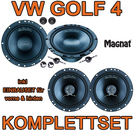vw golf iv 4 magnat lautsprecher boxen set vorne hinten. Black Bedroom Furniture Sets. Home Design Ideas