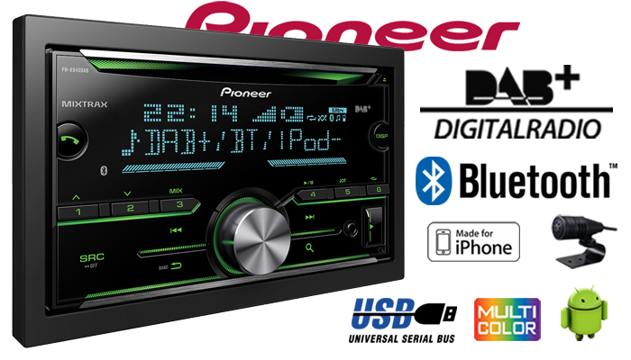 pioneer fh x840dab 2 din bluetooth dab digitalradio. Black Bedroom Furniture Sets. Home Design Ideas