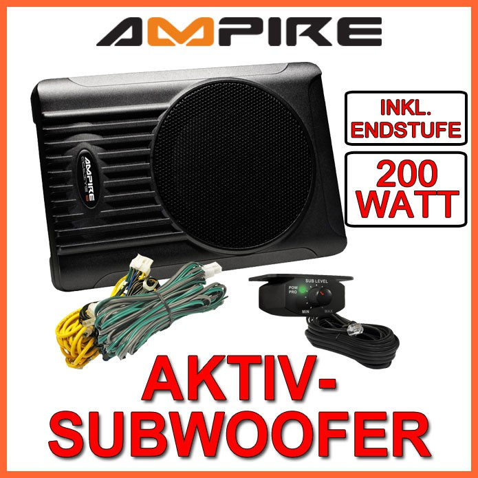 ampire aktiv subwoofer 20cm slim line 200mm aktivwoofer. Black Bedroom Furniture Sets. Home Design Ideas