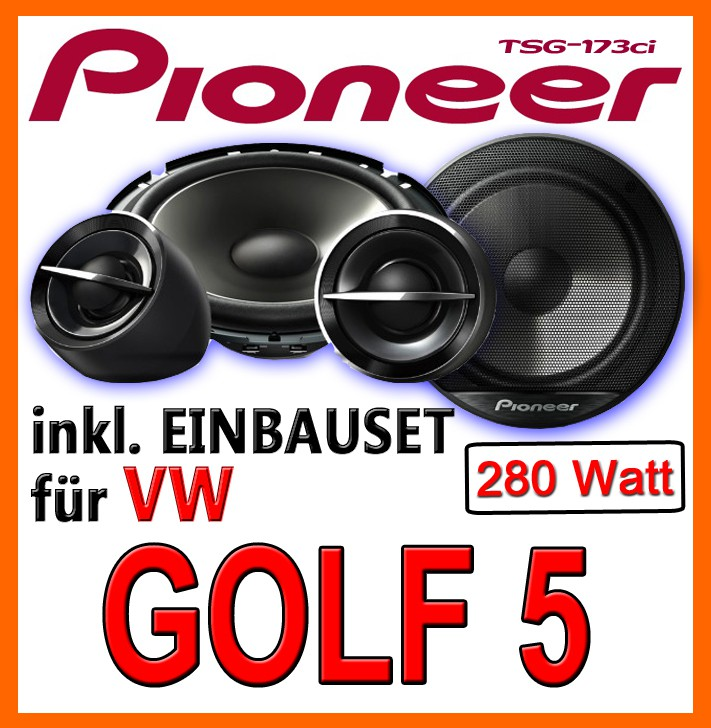 vw golf 5 heck lautsprecher pioneer ts g173ci 16cm. Black Bedroom Furniture Sets. Home Design Ideas