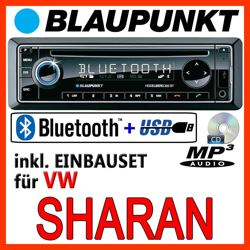 blaupunkt vw sharan 7n bluetooth autoradio mit cd mp3. Black Bedroom Furniture Sets. Home Design Ideas